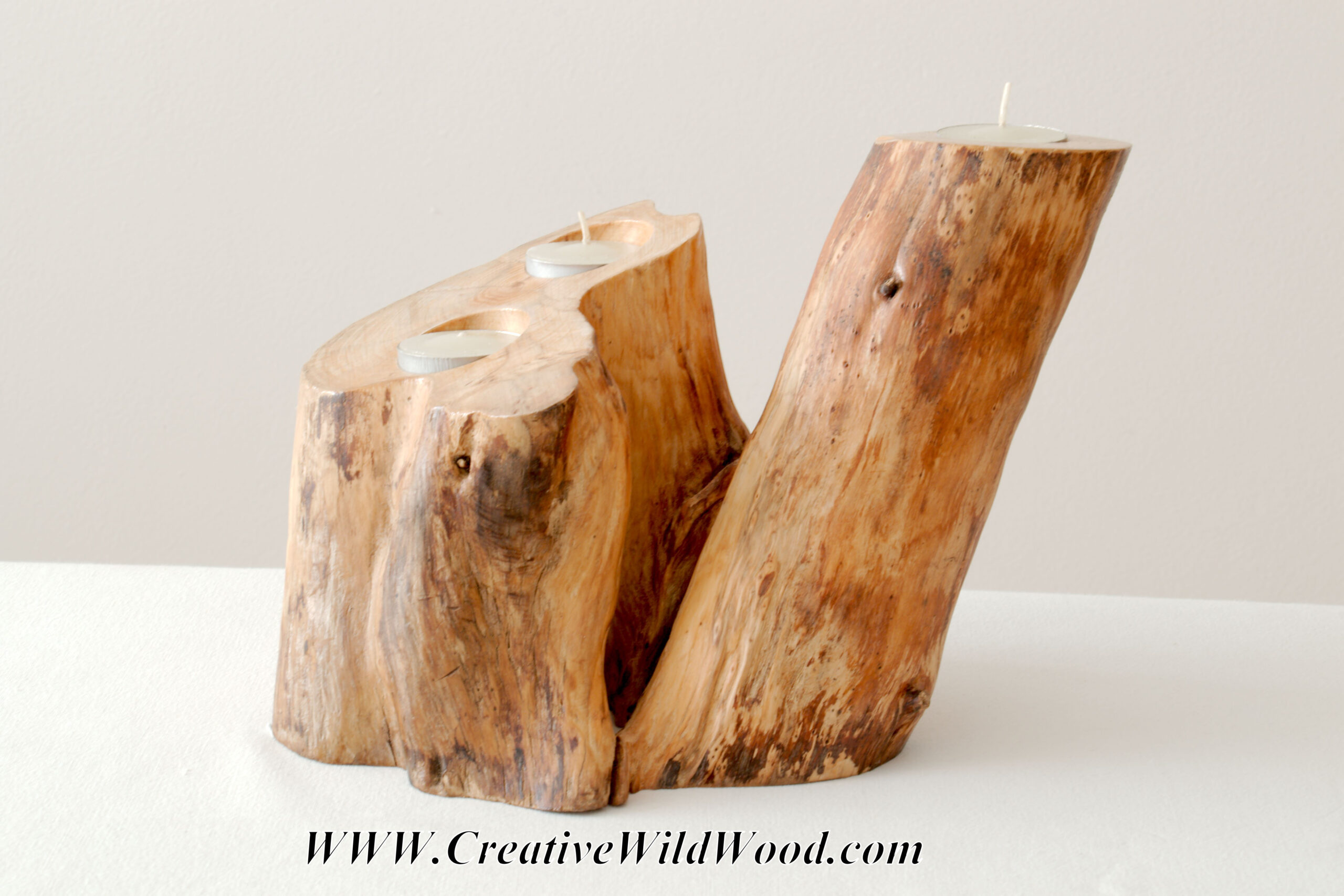 Scots Pine Log, Tea Light Holder