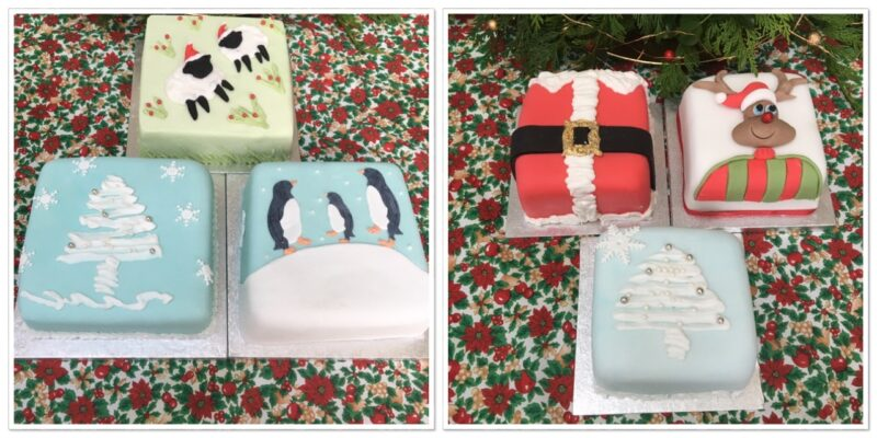 Christmas cakes and mini gift cakes